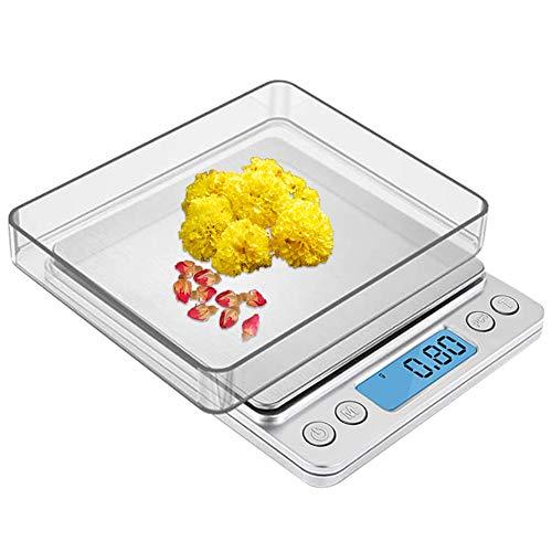 Zorara Báscula Digital para Cocina de Acero Inoxidable, 3kg/6.6 lbs, Balanza de Alimento Multifuncional, Peso de Cocina con Pantalla LCD, Plata (Baterías No Incluidas) (Plata)