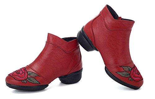 SHIXR Les Femmes En Cuir Chaussures De Danse Vent National Broderie Femmes Carrés Chaussures De Danse Moderne Chaussures De Danse De Jazz Fond Mou Bottes Marin rouge