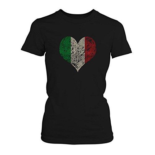 Fashionalarm Damen T-Shirt - I Love Italy | Fun Shirt Trikot mit Vintage Flagge Print für Fußball & Italien Fans | Mittelmeer Urlaub | EM & WM, Farbe:schwarz;Größe:M