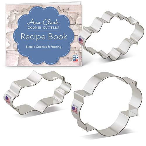Ann Clark Plaque Rahmen Cookie und Fondant Cutter Set-3Stück-lang Fancy, oval, Foto Vorlagen-Zinn vergoldet Stahl