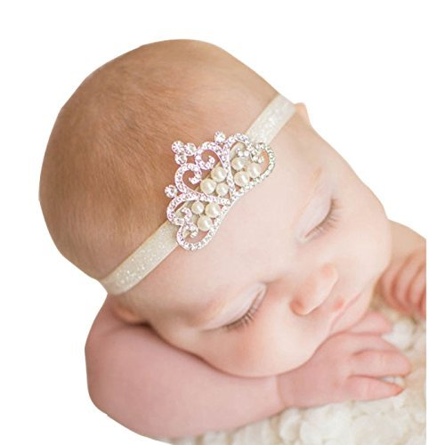 Inspiring Life Crystal Pearl Baby Tiara Headband Girl Toddler Wedding Photography White band