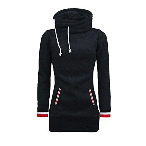 Amlaiworld Winter Herbst bunt Rollkragen Mäntel damen komfortabel locker sport Sweatshirt warm weich Lang Tasche pullover Schwarz