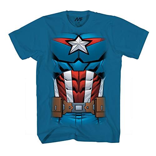 America Erste Avenger Kostüm Captain - Marvel Captain America Comic Kostüm Erwachsene T-Shirt - Blau - Groß