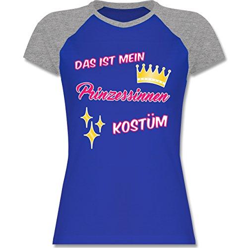 Karneval & Fasching - Das ist mein Prinzessinnen Kostüm - zweifarbiges Baseballshirt / Raglan T-Shirt für Damen Royalblau/Grau meliert