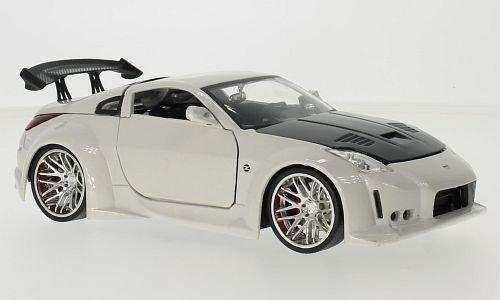 Unbekannt Nissan 350Z (Z33), Metallic-Weiss/Carbon, 2003, Modellauto, Fertigmodell, Jada 1:24 (350z Carbon)