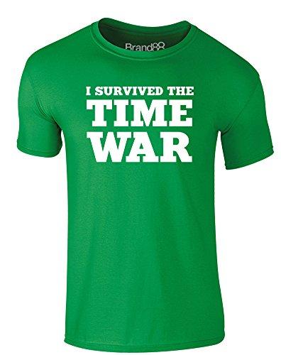 Brand88 - I Survived the Time War, Erwachsene Gedrucktes T-Shirt Grün/Weiß