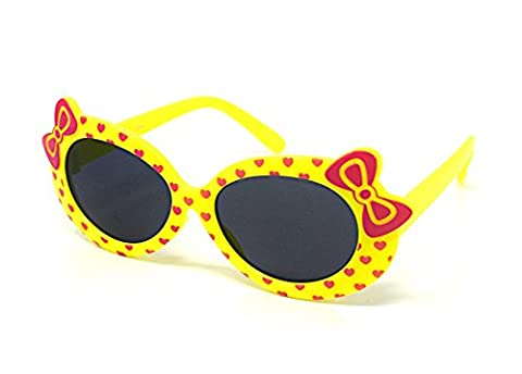 Yellow Coloured Childrens Kids Girls Stylish Cute Designer Style Sunglasses High Quality with a Bow and heart Style UV400 Sunglasses Shades UVA UVB