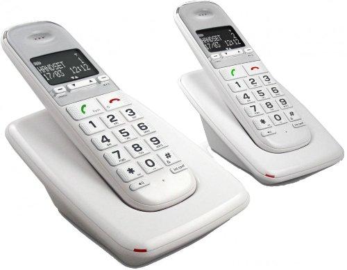 Telefunken TD 302 Pillow - Teléfono (Teléfono DECT, 100 entradas, Identificador de llamadas, Blanco)