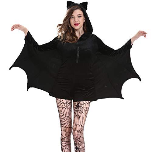 BaojunHT Damen Fledermausflügel Ärmel Jumpsuit Cosplay Kostüm Cosplay Kostüme mit Plüsch Kapuze Übergröße, Schwarz, XXXX-Large