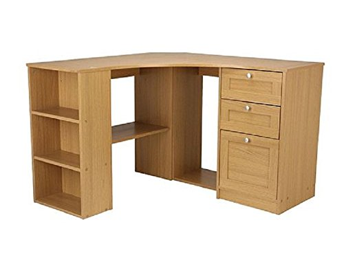 fraser wood computer corner desk workstation oak proffesional home office l shaped combination. Black Bedroom Furniture Sets. Home Design Ideas