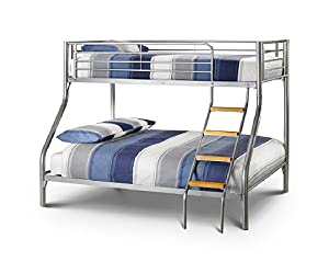 Happy Beds Bunk Bed Atlas Triple Sleeper Solid Metal With 2x Luxury Spring Mattresses 3' Single 90 x 190 cm And 4'6'' Double 135 x 190 cm
