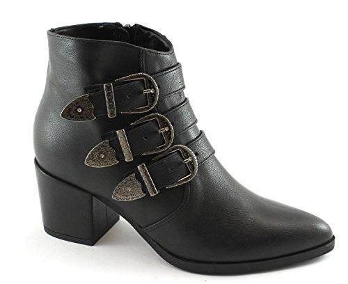 Divine Follie 2017 Chaussures Noires Bottines Talon Zip Femme Boucles Pointe Nero