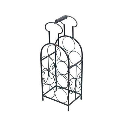 CAPRILO Botellero Decorativo de Metal para Botellas de Vino Botella. Muebles Auxiliares. Menaje de Cocina. Regalos Originales. 53.5 x 20 x 15 cm.