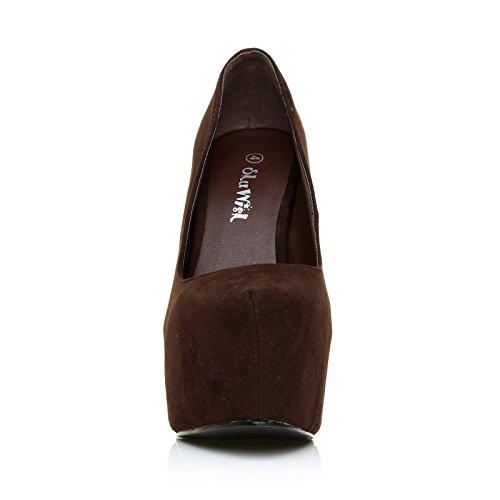 Donna scarpe marroni tacchi a spillo altissimi camoscio sintetico plateau decolleté Camoscio marrone