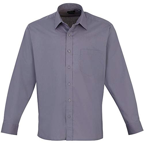 Premier Mens Long Sleeve Polycotton Poplin Formal Corporate Shirt - Shirt Corporate