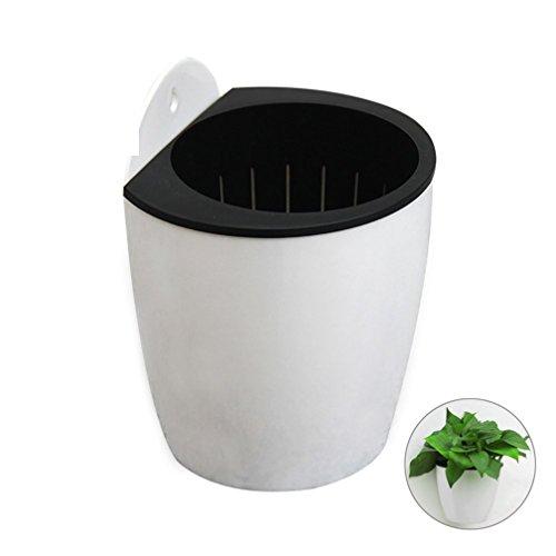 Tianfuheng d' irrigazione fioriere sospese vasi di piante in vaso da fiori, forma rotonda con montaggio a parete in plastica per interni ed esterni flowerpots, plastica, white + black, l