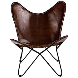 Madeleine Home Butter Fly Chairs (Cuero marrón)