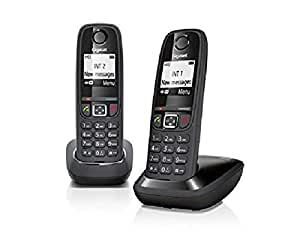 Gigaset AS 405 Duo Telefono Cordless, Chiamate tra Interni/Interfono, Rubrica Personalizzabile, Trasferimento di Chiamata, Nero [Italia]