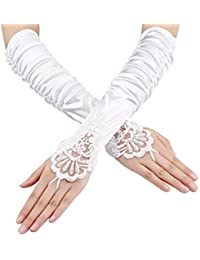 Fingerless Gloves Lace Sequins Satin Gloves for Party Bridal