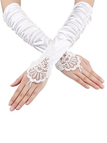 Fingerlose Handschuhe Spitze Sequins Satin Handschuhe für Party Braut (Weiß)