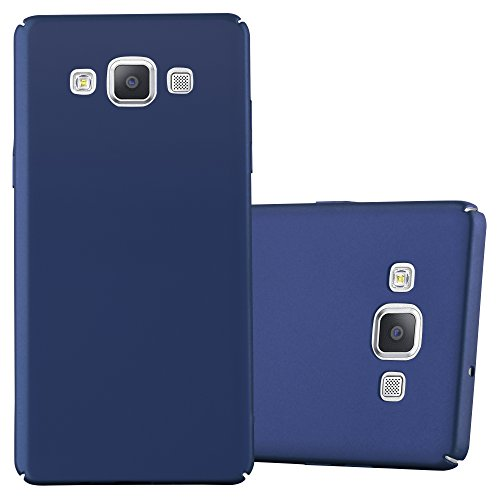 Cadorabo Hülle für Samsung Galaxy A5 2015 (5) - Hülle in Metall BLAU – Hardcase Handyhülle im Matt Metal Design - Schutzhülle Bumper Back Case Cover (Blau Back Case)