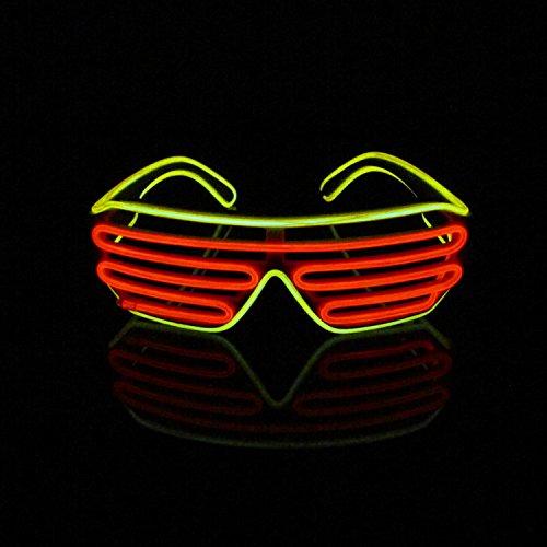 Lerway Bianco Telaio 2 Colori Novità LED Maschera Occhi Occhiali + Voice Control Box per Mascherata Festa Pub Club Notte