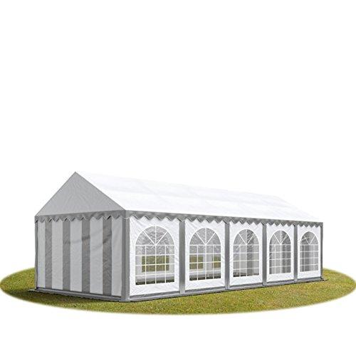 TOOLPORT Tente Barnum de Réception 4x10 m ignifugee Premium Bâches Amovibles PVC 500 g/m² Gris-Blanc Cadre de Sol Jardin INTENT24