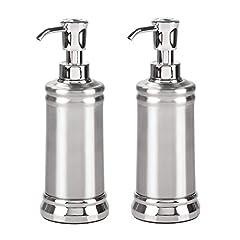 Idea Regalo - mDesign Set da 2 Dispenser per Sapone Liquido - Portasapone Liquido in Metallo e plastica - Elegante erogatore di Sapone per Circa 237 ml di Prodotto - Argento