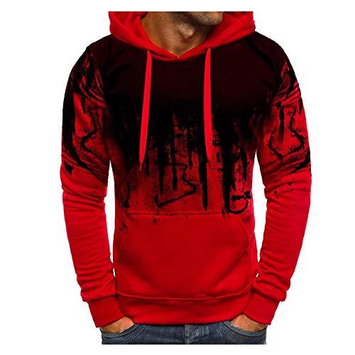 Kanpola Kapuzenpullover Herren Pullover Fitness Sweatjacke Slim Fit Kapuzenshirt Langarm Hoodie Sweatshirts (XL/52, Rot)
