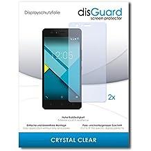 2 x disGuard Crystal Clear Lámina de protección para BQ Aquarius M5 / M-5 - ¡Protección de pantalla cristalina con recubrimiento duro! CALIDAD PREMIUM - Made in Germany