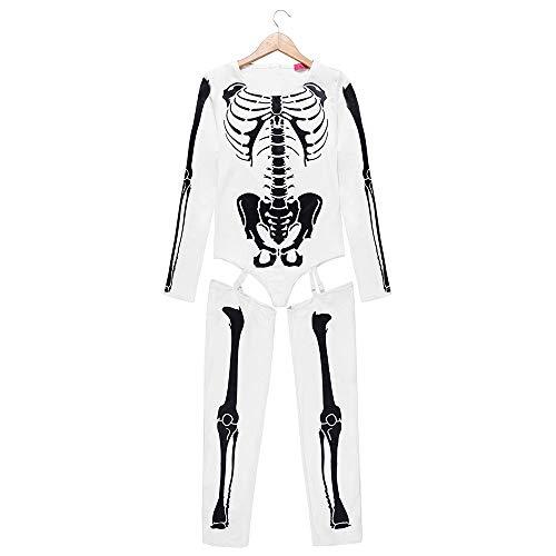 KDSANSO Halloween Kleid Damen,Frauen Spandex Gedruckt Glow-In-The-Dark Skelett Catsuit,Weiße XL