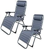 MQ 2 Stück Relax-Liegestuhl | Belastbarkeit 120 kg | klappbar | stufenlose Verstellung | Stahlkonstruktion | UV-beständig ~cf1919-2