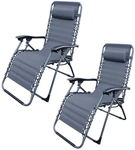MQ 2 Stück Relax-Liegestuhl | Belastbarkeit 120 kg | klappbar | stufenlose Verstellung |...