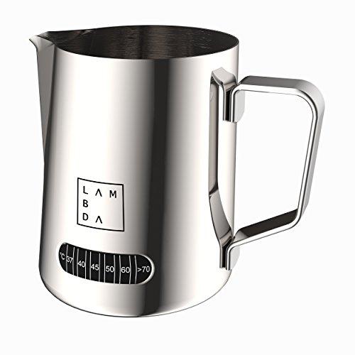 Lambda Coffee Milchschaumkännchen mit Temperaturanzeige 600ml Milk Pitcher Milchkännchen mit Thermometer (600 ml)