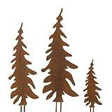 Pureday Weihnachtsdeko - Gartenstecker Set Tannenbaum - Metall - Rost-Optik - 3 Stück