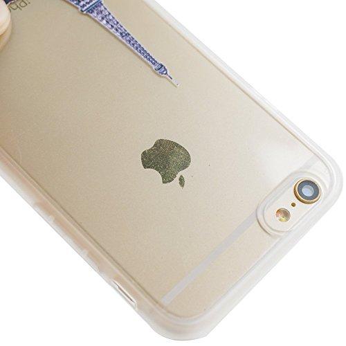 Voguecase® Pour Apple iPhone 6/6S 4.7, TPU Silicone Shell Housse Coque Étui Case Cover (Cœurs/éléphant)+ Gratuit stylet l'écran aléatoire universelle Paris Tour 05