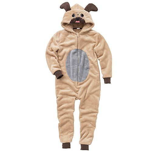 Animal-Crazy-Pug-Dog-Childs-Boys-Girls-Supersoft-Fleece-Onesie-Jumpsuit-Playsuit