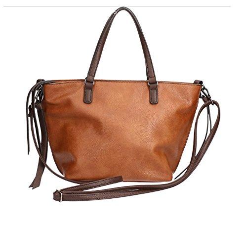 Emily & Naoh Cityshopper Surprice Bag in Bag Damen Handtasche Tasche Cognac/Brown