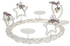 Idea Regalo - Avvento corona 33 cm bianco - Country Natale Serie - portacandele a forma di stella a forma di cuore