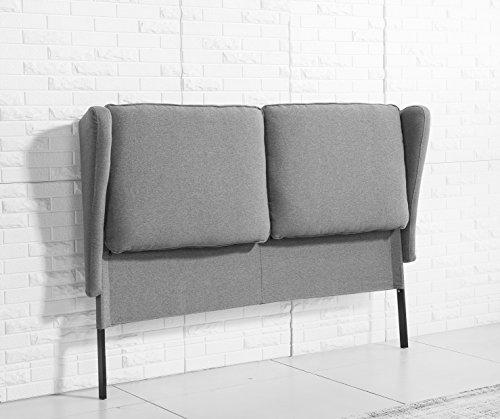 Cabezal de 170cm tapizado de tela gris ceniza arena para camas de 135 o 150cm cabecera de - Cabezal de cama tapizado ...