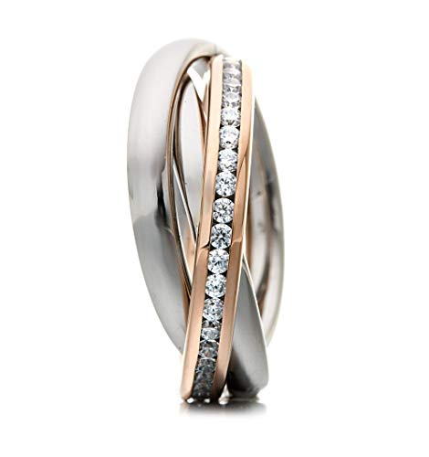 Heideman Bicolor Ring Damen Rosegold Farben aus Edelstahl Dreierring 3 in 1 Ring Rollring Spielring Crystal 56 sr2314-8-1-56