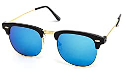 TheWhoop UV Protected Blue Mirror Clubmaster Wayfarer Sunglasses