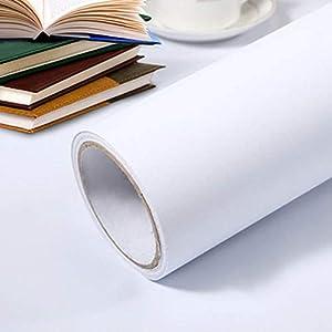 Hode Klebefolie Selbstklebende Möbelfolie modern und Einfache Folie für Arbeitsplatte Wände Tür Schränke, Wasserdicht Weiß 40x300cm