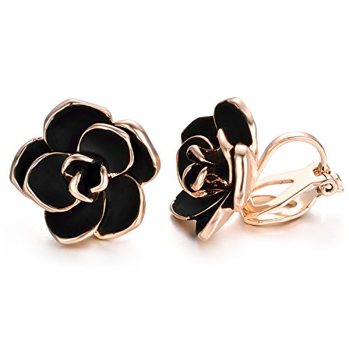 Yoursfs schwarze Rose Ohrringe 18 Karat Gold plattiert Blume Ohrringe 15mm