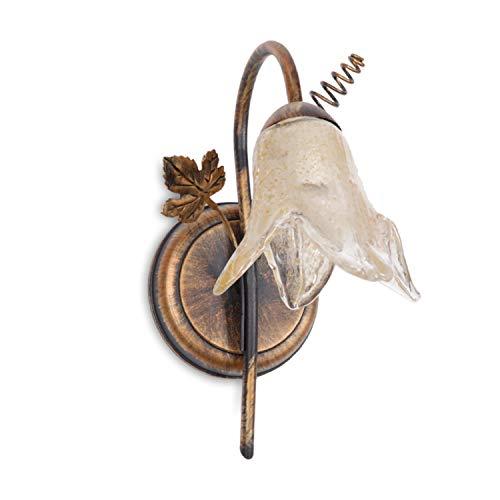 Wandlampe CELESTE Klassicher Stil, 1-Flammig, Fassung E14, Wandleuchten, Lampenschirm in Form einer Blume, Rustikal Landhausstil für Wohnzimmer, Flur, Esszimmer, Schlafzimmer - ohne Leuchtmittel