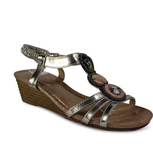 Sandálias Femininas Calçar Sandálias De Salto Cunha Rebites Brilhantes Strappy St104 Ouro