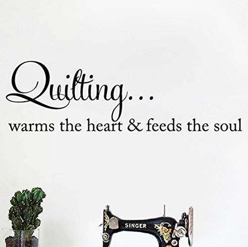 xiaoshuaige Quilten wärmt das Herz Zitat Wandkunst Aufkleber Nähen Quilten Schriftzug Worte Vinyl Aufkleber Kunsthandwerk Raum Wand Kunst Dekor 110x35 cm -