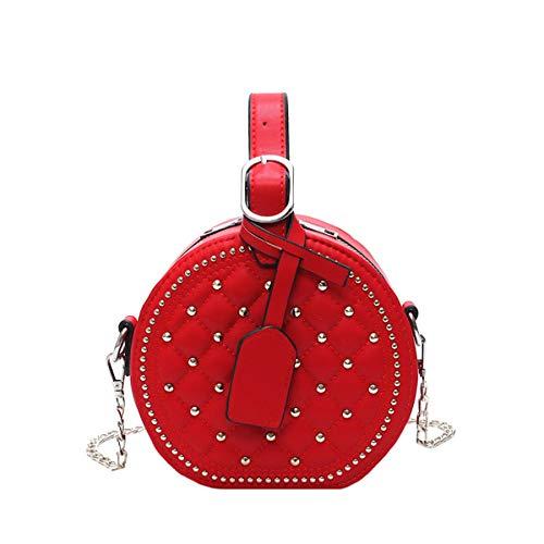 Tasche Damentasche neu 2019 rund geschlungen kleiner Duft rhombische Nietenkette Handtasche Damentasche kleiner runder Beutel (Rot, 18 * 17 * 9cm)