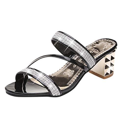 MEIbax Damenmode Casual Kristall Outdoor Hausschuhe Platz Ferse Sandalen Schuhe Pantoletten Slipper quadratische Ferse Schuhe Freizeitschuhe Sommerschuhe