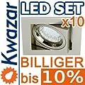 10er Set K-23 Einbaustrahler 1w 20p Led Warmweiss Inkl Gu10 230v Fassung - Nickel Matt Innox von Kwazar